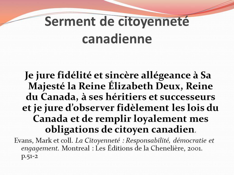 Serment de citoyenneté canadienne Je jure fidélité et sincère allégeance à Sa Majesté la Reine Élizabeth Deux, Reine du Canada, à ses héritiers et suc