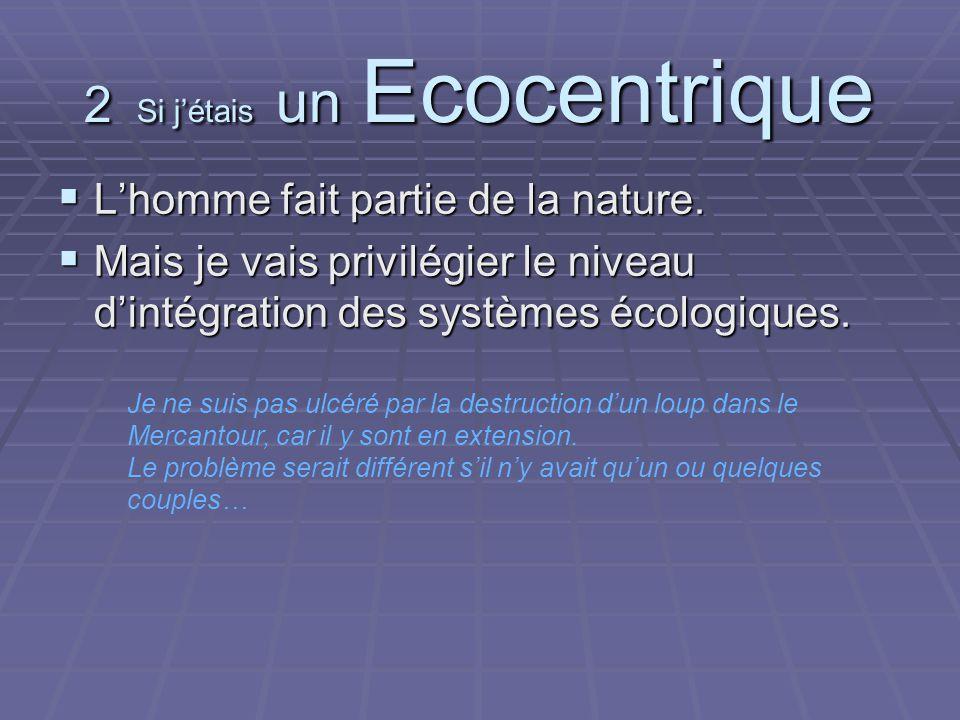 2 Si jétais un Ecocentrique Lhomme fait partie de la nature.