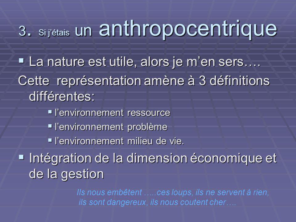 3. Si jétais un anthropocentrique La nature est utile, alors je men sers….
