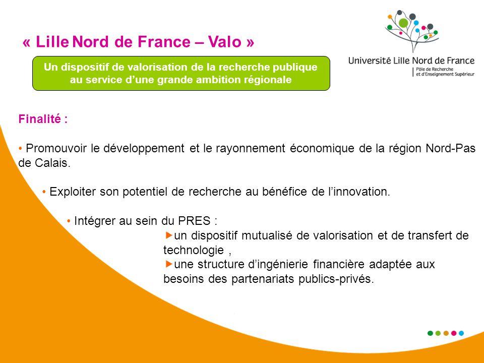 « Lille Nord de France – Valo » Un dispositif de valorisation de la recherche publique au service dune grande ambition régionale Finalité : Promouvoir le développement et le rayonnement économique de la région Nord-Pas de Calais.