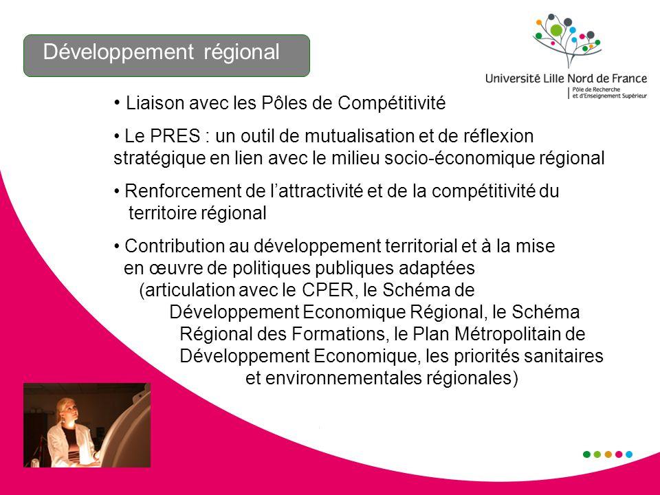 Développement régional Liaison avec les Pôles de Compétitivité Le PRES : un outil de mutualisation et de réflexion stratégique en lien avec le milieu socio-économique régional Renforcement de lattractivité et de la compétitivité du territoire régional Contribution au développement territorial et à la mise en œuvre de politiques publiques adaptées (articulation avec le CPER, le Schéma de Développement Economique Régional, le Schéma Régional des Formations, le Plan Métropolitain de Développement Economique, les priorités sanitaires et environnementales régionales)