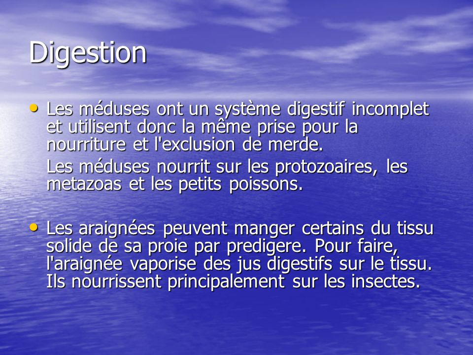 Digestion Les méduses ont un système digestif incomplet et utilisent donc la même prise pour la nourriture et l'exclusion de merde. Les méduses ont un