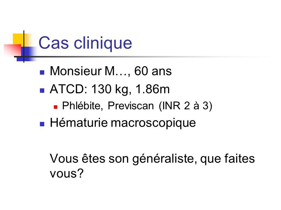 Cas clinique Monsieur M…, 60 ans ATCD: 130 kg, 1.86m Phlébite, Previscan (INR 2 à 3) Hématurie macroscopique Vous êtes son généraliste, que faites vou