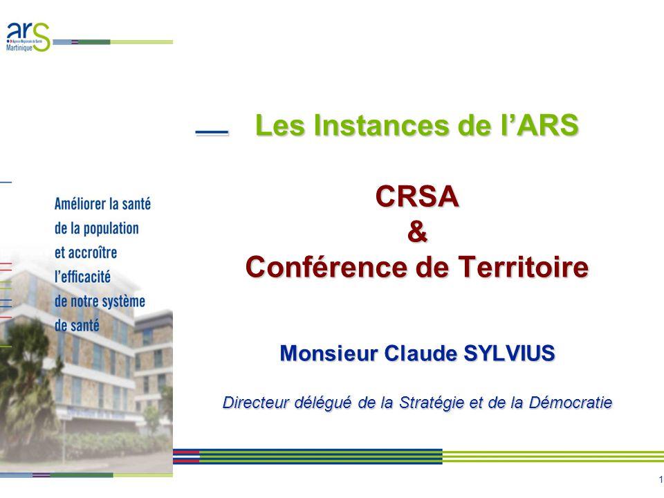 1 Les Instances de lARS CRSA & Conférence de Territoire Monsieur Claude SYLVIUS Directeur délégué de la Stratégie et de la Démocratie
