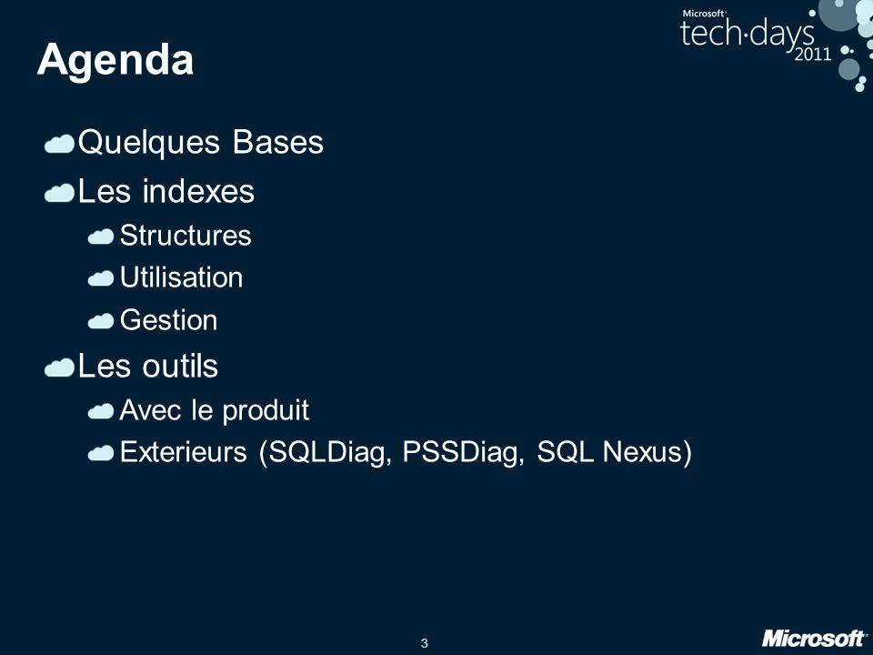 3 Agenda Quelques Bases Les indexes Structures Utilisation Gestion Les outils Avec le produit Exterieurs (SQLDiag, PSSDiag, SQL Nexus)