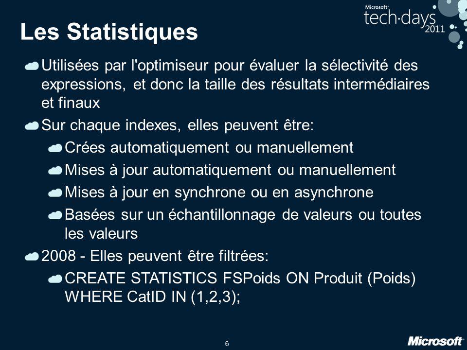 6 Les Statistiques Utilisées par l optimiseur pour évaluer la sélectivité des expressions, et donc la taille des résultats intermédiaires et finaux Sur chaque indexes, elles peuvent être: Crées automatiquement ou manuellement Mises à jour automatiquement ou manuellement Mises à jour en synchrone ou en asynchrone Basées sur un échantillonnage de valeurs ou toutes les valeurs 2008 - Elles peuvent être filtrées: CREATE STATISTICS FSPoids ON Produit (Poids) WHERE CatID IN (1,2,3);