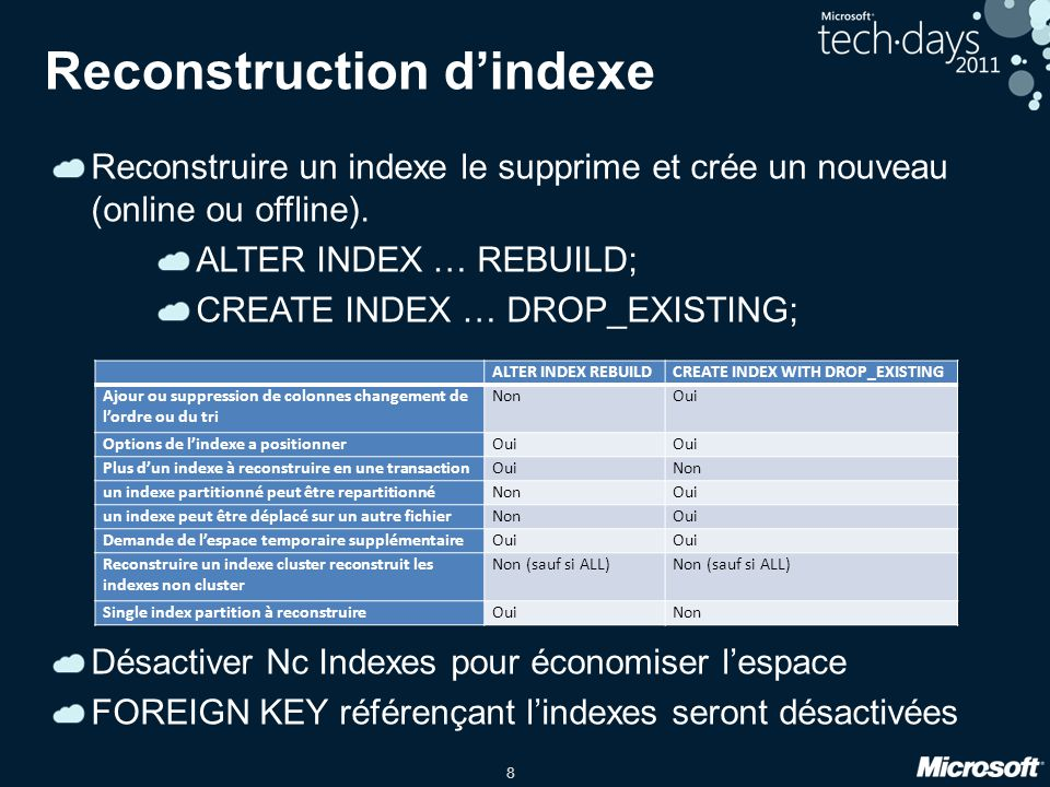 8 Reconstruction dindexe Reconstruire un indexe le supprime et crée un nouveau (online ou offline). ALTER INDEX … REBUILD; CREATE INDEX … DROP_EXISTIN