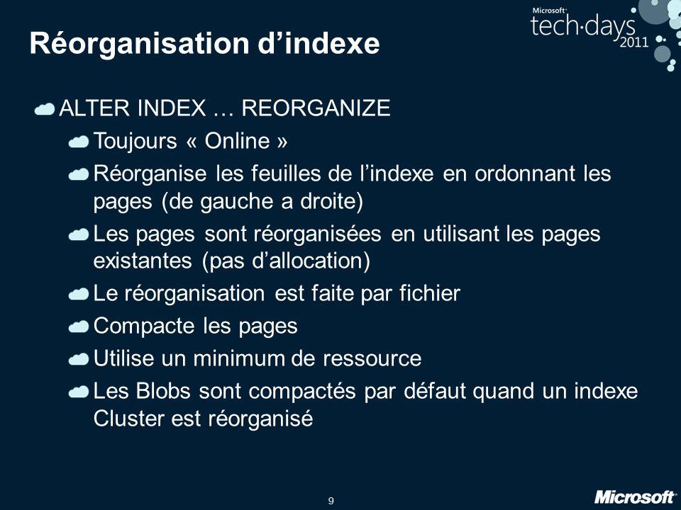 9 Réorganisation dindexe ALTER INDEX … REORGANIZE Toujours « Online » Réorganise les feuilles de lindexe en ordonnant les pages (de gauche a droite) Les pages sont réorganisées en utilisant les pages existantes (pas dallocation) Le réorganisation est faite par fichier Compacte les pages Utilise un minimum de ressource Les Blobs sont compactés par défaut quand un indexe Cluster est réorganisé
