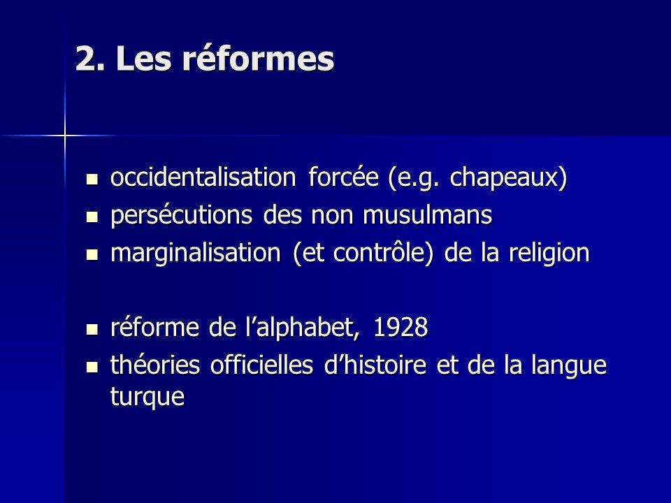 2. Les réformes occidentalisation forcée (e.g. chapeaux) occidentalisation forcée (e.g.