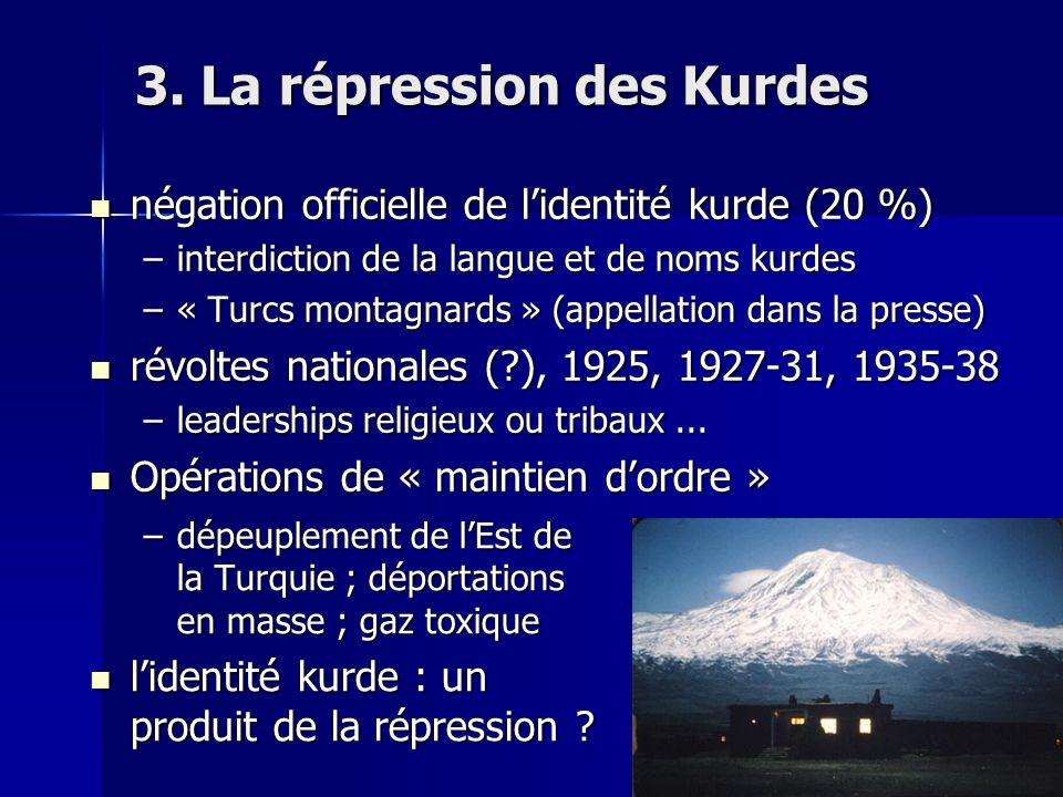 3. La répression des Kurdes négation officielle de lidentité kurde (20 %) négation officielle de lidentité kurde (20 %) –interdiction de la langue et