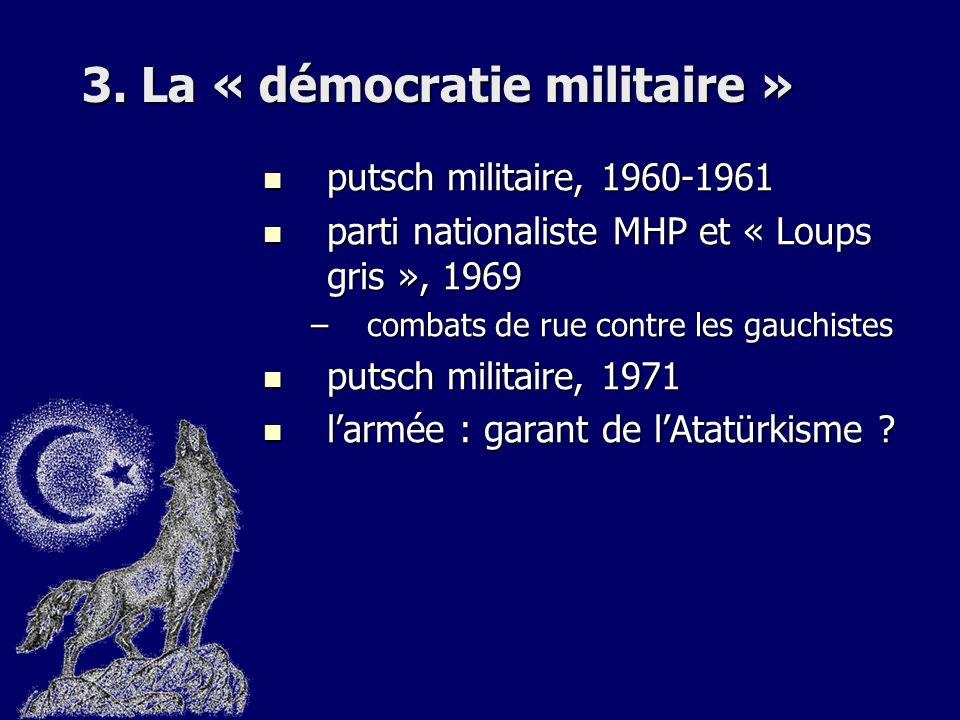 3. La « démocratie militaire » putsch militaire, 1960-1961 putsch militaire, 1960-1961 parti nationaliste MHP et « Loups gris », 1969 parti nationalis