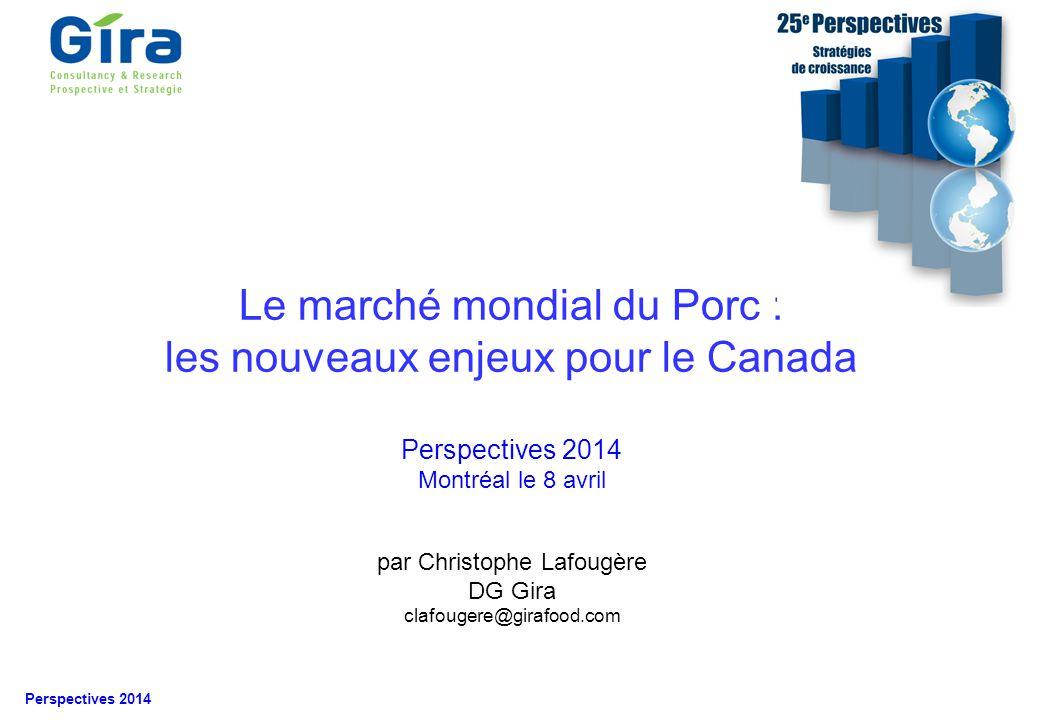 © Gira 2014 Perspectives 2014 1.A la « Une » 2.La consommation mondiale de viande 3.Le marché mondial du porc Et les principaux protagonistes 4.Les enjeux pour le marché canadien Les exportations Le marché intérieur 5.Conclusions Menu de la présentation