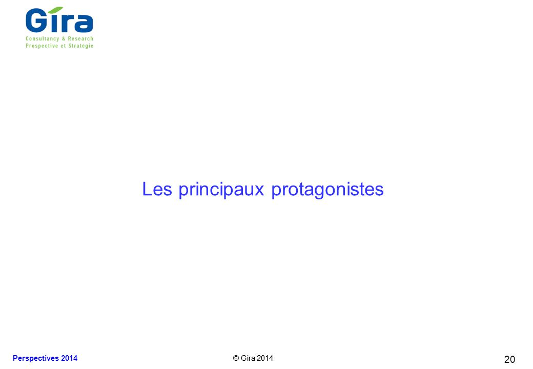 © Gira 2014 Perspectives 2014 © Gira 2014 Les principaux protagonistes 20