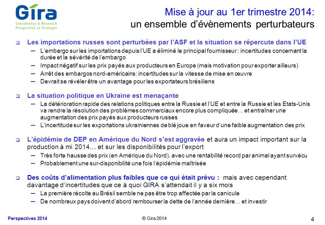 © Gira 2014 Perspectives 2014 © Gira 2014 4 Mise à jour au 1er trimestre 2014: un ensemble dévènements perturbateurs Les importations russes sont pert