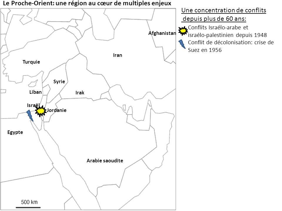 Le Proche-Orient: une région au cœur de multiples enjeux Une concentration de conflits depuis plus de 60 ans: Conflits Israélo-arabe et israélo-palestinien depuis 1948 Conflit de décolonisation: crise de Suez en 1956 Guerre du Liban 1975-1990 et 2006 Guerre Iran-Irak 1980-1988 Lintervention américaine: En Irak en 1990 et depuis 2003 En Afghanistan depuis 2002 Israël Jordanie Egypte Syrie Liban Irak Iran Afghanistan Les facteurs aggravants: 50% des réserves mondiales de Pétrole Jérusalem, un lieu saint pour les trois religions monothéistes Peuples sans Etat Kurdes Palestiniens Turquie Arabie saoudite