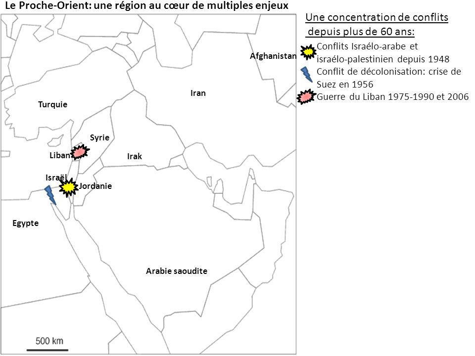 Le Proche-Orient: une région au cœur de multiples enjeux Une concentration de conflits depuis plus de 60 ans: Conflits Israélo-arabe et israélo-palestinien depuis 1948 Conflit de décolonisation: crise de Suez en 1956 Guerre du Liban 1975-1990 et 2006 Guerre Iran-Irak 1980-1988 Lintervention américaine: En Irak en 1990 et depuis 2003 En Afghanistan depuis 2002 Israël Jordanie Egypte Syrie Liban Irak Iran Afghanistan Les facteurs aggravants: 50% des réserves mondiales de Pétrole Jérusalem, un lieu saint pour les trois religions monothéistes Peuples sans Etat Kurdes Palestiniens Etats concernés par la « guerre de leau » Turquie Arabie saoudite
