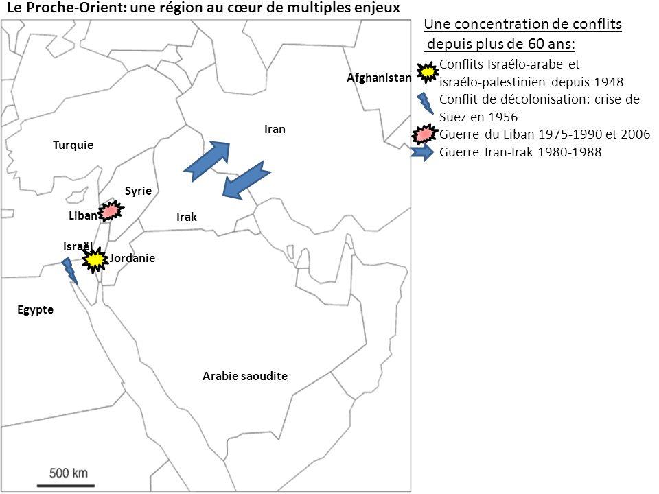 Le Proche-Orient: une région au cœur de multiples enjeux Une concentration de conflits depuis plus de 60 ans: Conflits Israélo-arabe et israélo-palestinien depuis 1948 Conflit de décolonisation: crise de Suez en 1956 Guerre du Liban 1975-1990 et 2006 Guerre Iran-Irak 1980-1988 Lintervention américaine: Israël Jordanie Egypte Syrie Liban Irak Iran Afghanistan Turquie Arabie saoudite