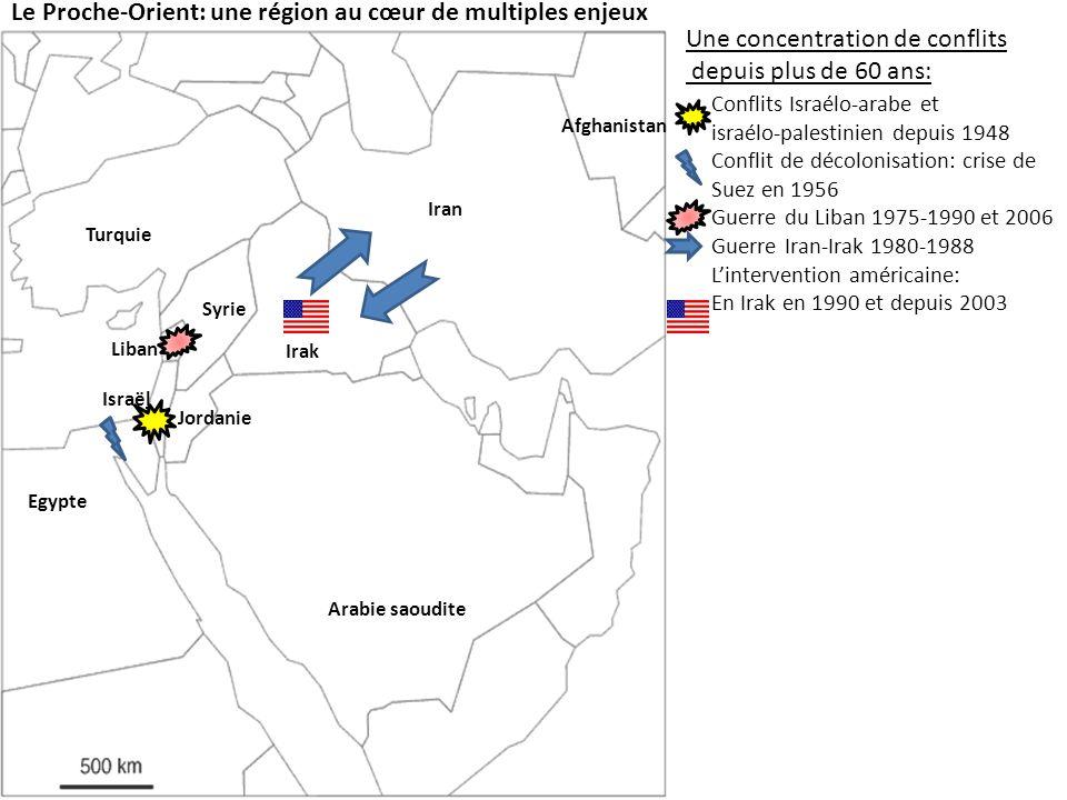 Le Proche-Orient: une région au cœur de multiples enjeux Une concentration de conflits depuis plus de 60 ans: Conflits Israélo-arabe et israélo-palestinien depuis 1948 Conflit de décolonisation: crise de Suez en 1956 Guerre du Liban 1975-1990 et 2006 Guerre Iran-Irak 1980-1988 Lintervention américaine: En Irak en 1990 et depuis 2003 En Afghanistan depuis 2002 Israël Jordanie Egypte Syrie Liban Irak Iran Afghanistan Turquie Arabie saoudite