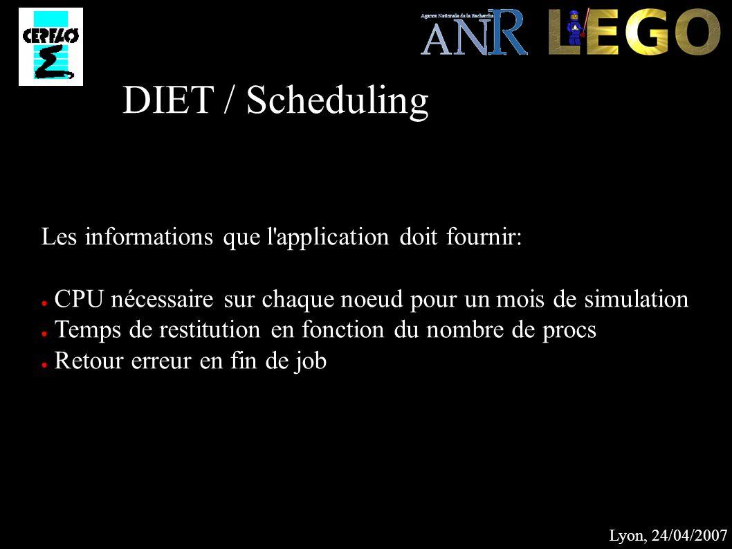 Lyon, 24/04/2007 DIET / Scheduling Les informations que l application doit fournir: CPU nécessaire sur chaque noeud pour un mois de simulation Temps de restitution en fonction du nombre de procs Retour erreur en fin de job