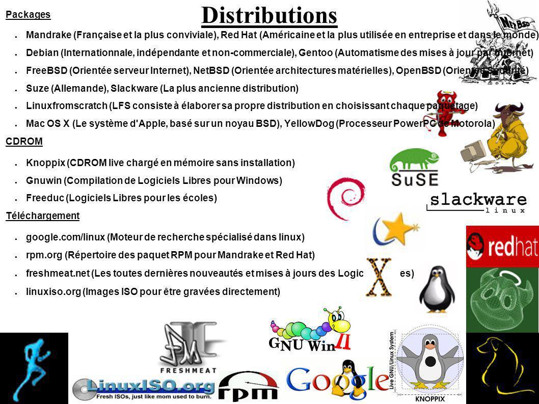 Distributions Packages Mandrake (Française et la plus conviviale), Red Hat (Américaine et la plus utilisée en entreprise et dans le monde) Debian (Internationnale, indépendante et non-commerciale), Gentoo (Automatisme des mises à jour par Internet) FreeBSD (Orientée serveur Internet), NetBSD (Orientée architectures matérielles), OpenBSD (Orientée Sécurité) Suze (Allemande), Slackware (La plus ancienne distribution) Linuxfromscratch (LFS consiste à élaborer sa propre distribution en choisissant chaque paquetage) Mac OS X (Le système d Apple, basé sur un noyau BSD), YellowDog (Processeur PowerPC de Motorola) CDROM Knoppix (CDROM live chargé en mémoire sans installation) Gnuwin (Compilation de Logiciels Libres pour Windows) Freeduc (Logiciels Libres pour les écoles) Téléchargement google.com/linux (Moteur de recherche spécialisé dans linux) rpm.org (Répertoire des paquet RPM pour Mandrake et Red Hat) freshmeat.net (Les toutes dernières nouveautés et mises à jours des Logiciels Libres) linuxiso.org (Images ISO pour être gravées directement)