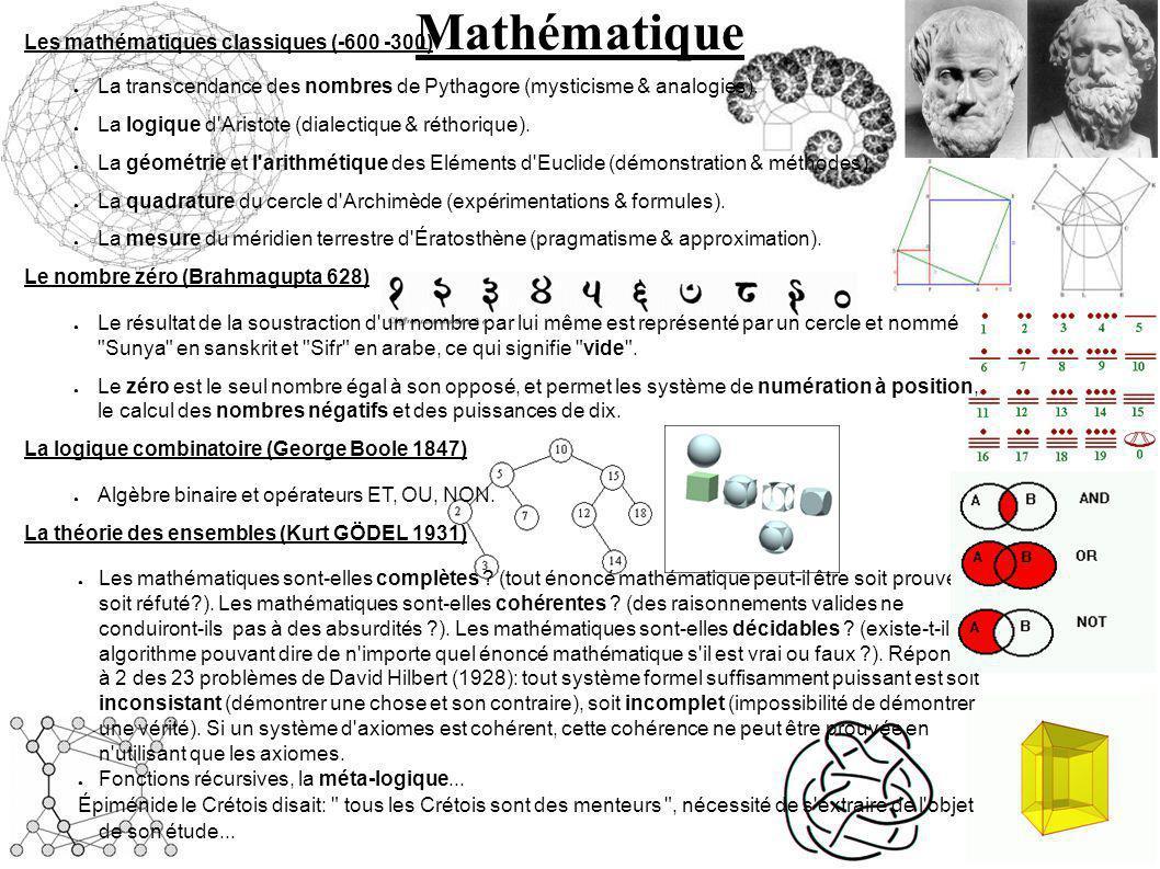 Mathématique Les mathématiques classiques (-600 -300) La transcendance des nombres de Pythagore (mysticisme & analogies).
