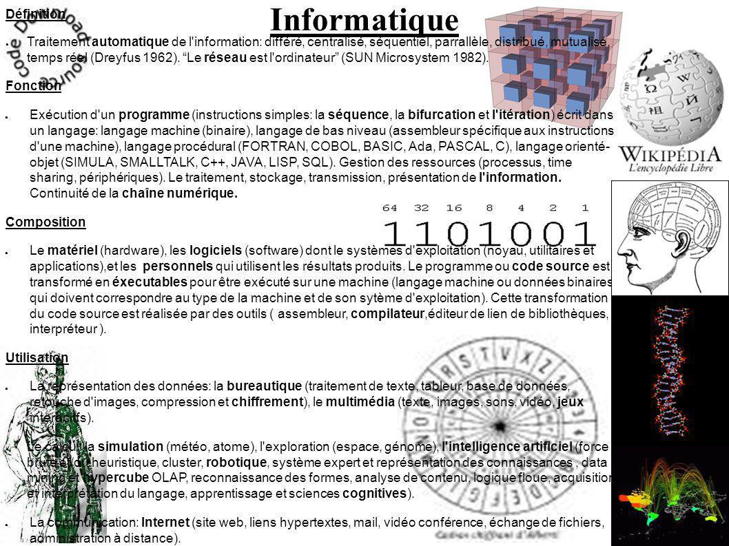 Informatique Définition Traitement automatique de l information: différé, centralisé, séquentiel, parrallèle, distribué, mutualisé, temps réel (Dreyfus 1962).