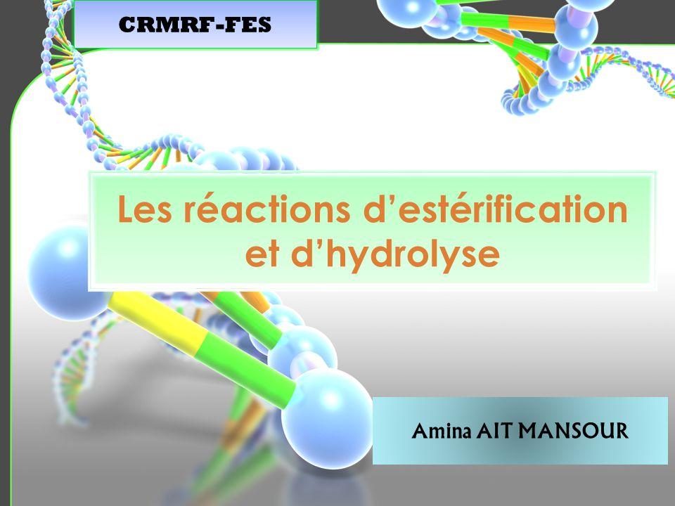 Les réactions destérification et dhydrolyse CRMRF-FES Amina AIT MANSOUR