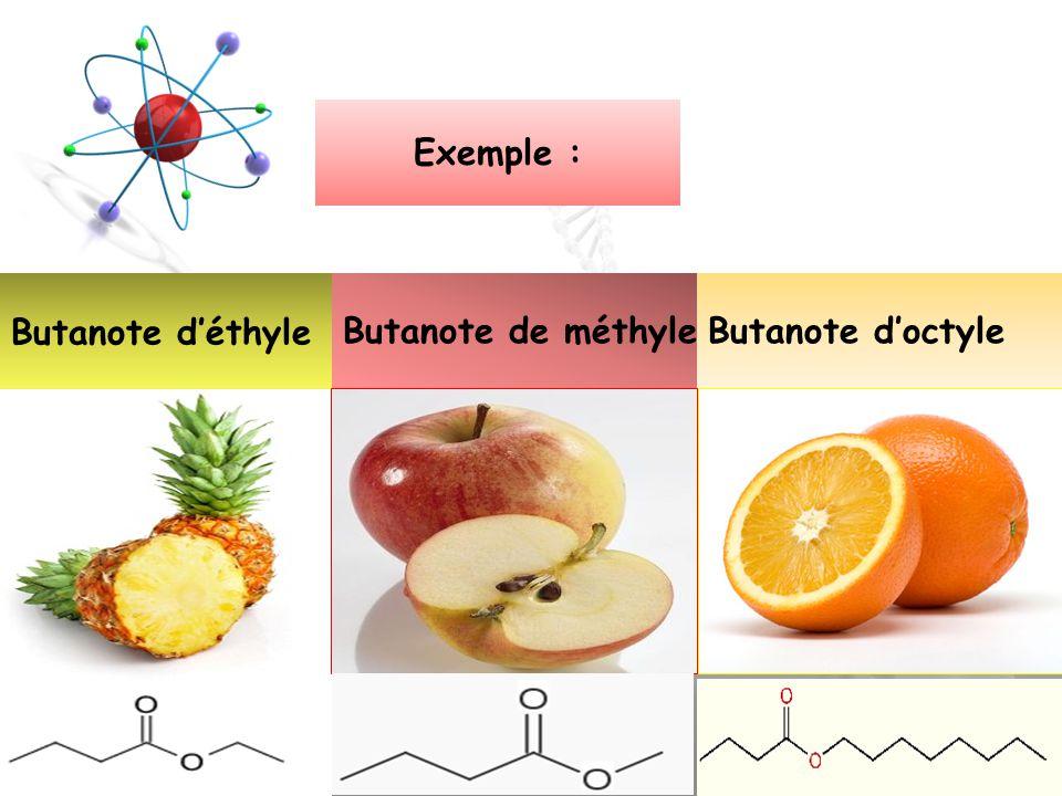 4 Exemple : Butanote déthyle Butanote de méthyleButanote doctyle