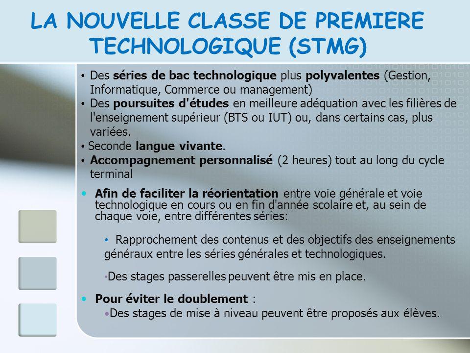 LA NOUVELLE CLASSE DE PREMIERE TECHNOLOGIQUE (STMG) Des séries de bac technologique plus polyvalentes (Gestion, Informatique, Commerce ou management)