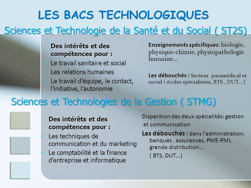 LES BACS TECHNOLOGIQUES Sciences et Technologie de la Santé et du Social ( ST2S) Des intérêts et des compétences pour : Le travail sanitaire et social