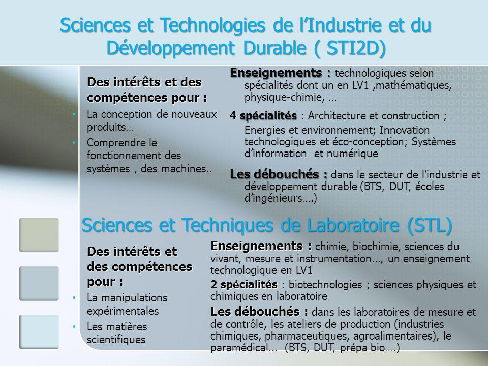 Sciences et Technologies de lIndustrie et du Développement Durable ( STI2D) Des intérêts et des compétences pour : La conception de nouveaux produits… Comprendre le fonctionnement des systèmes, des machines..