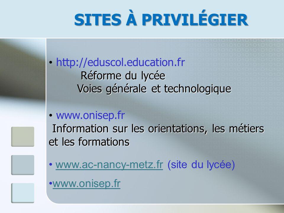 SITES À PRIVILÉGIER http://eduscol.education.fr Réforme du lycée Réforme du lycée Voies générale et technologique Voies générale et technologique www.