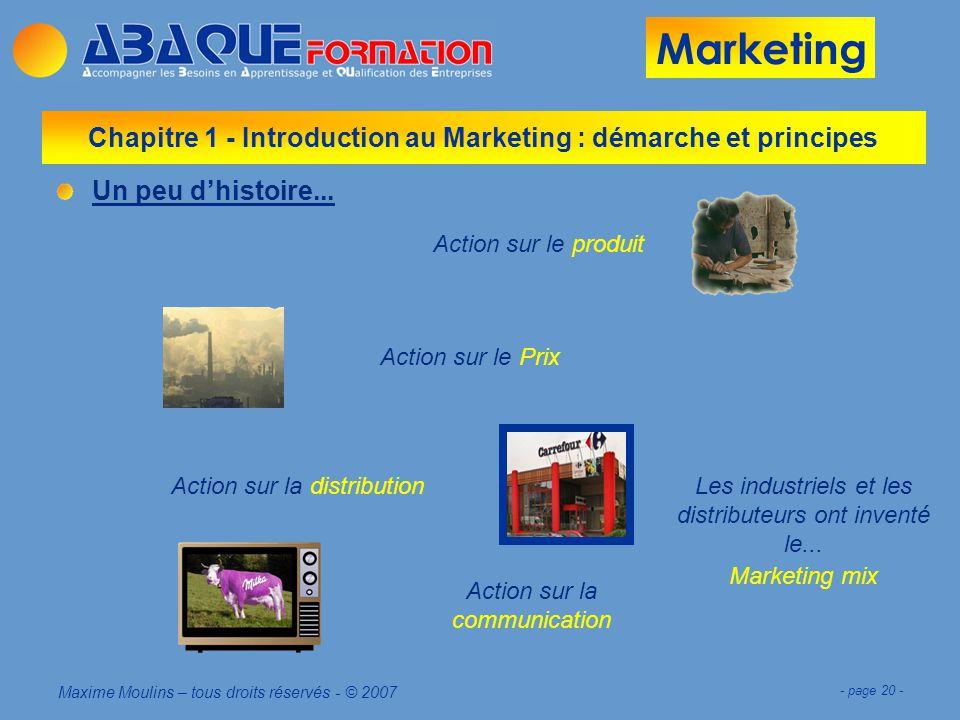 Marketing Maxime Moulins – tous droits réservés - © 2007 - page 20 - Chapitre 1 - Introduction au Marketing : démarche et principes Un peu dhistoire...