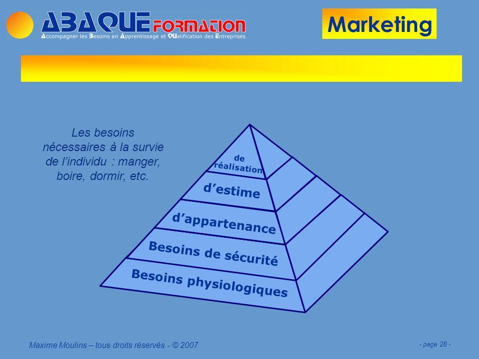 Marketing Maxime Moulins – tous droits réservés - © 2007 - page 28 - B e s o i n s p h y s i o l o g i q u e s B e s o i n s d e s é c u r i t é d a p p a r t e n a n c e d e s t i m e d e r é a l i s a t i o n Les besoins nécessaires à la survie de lindividu : manger, boire, dormir, etc.
