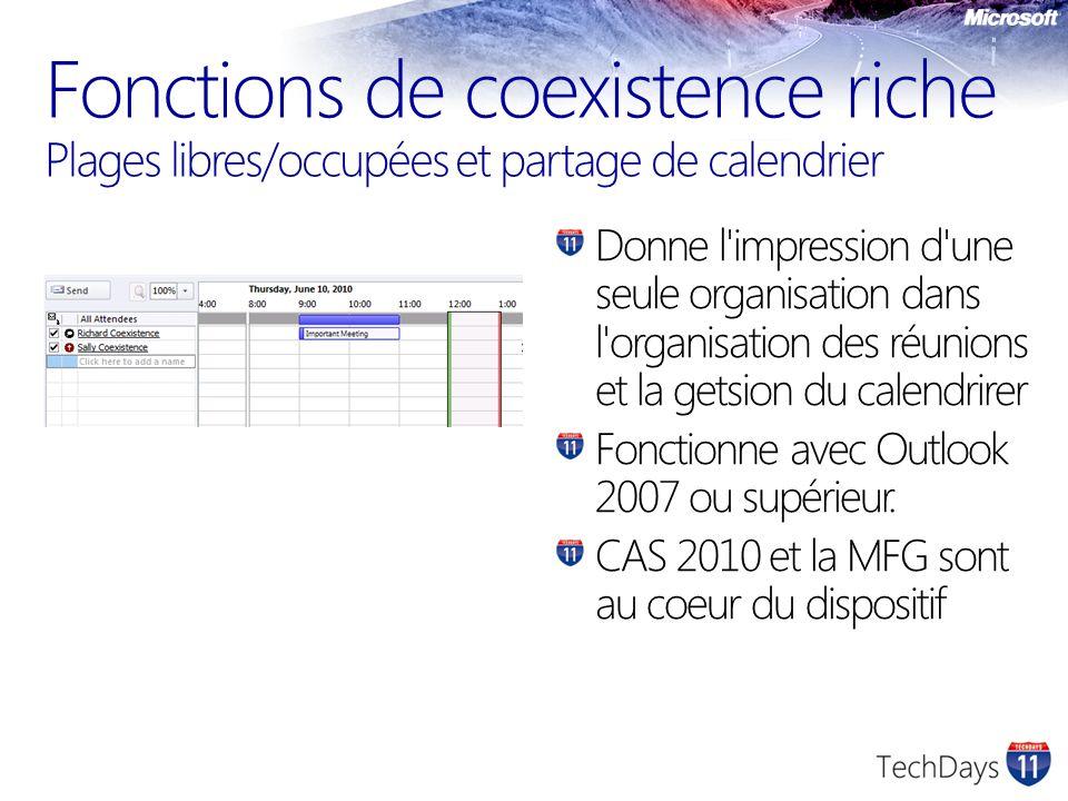 Fonctions de coexistence riche Plages libres/occupées et partage de calendrier Donne l impression d une seule organisation dans l organisation des réunions et la getsion du calendrirer Fonctionne avec Outlook 2007 ou supérieur.
