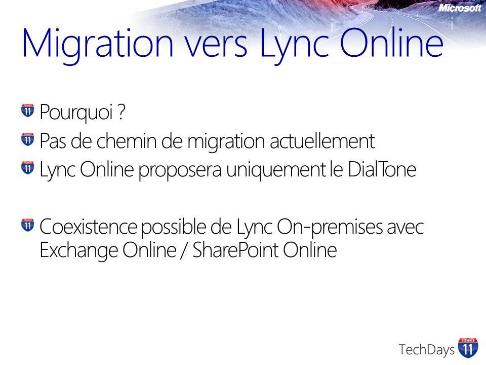 Pourquoi ? Pas de chemin de migration actuellement Lync Online proposera uniquement le DialTone Coexistence possible de Lync On-premises avec Exchange