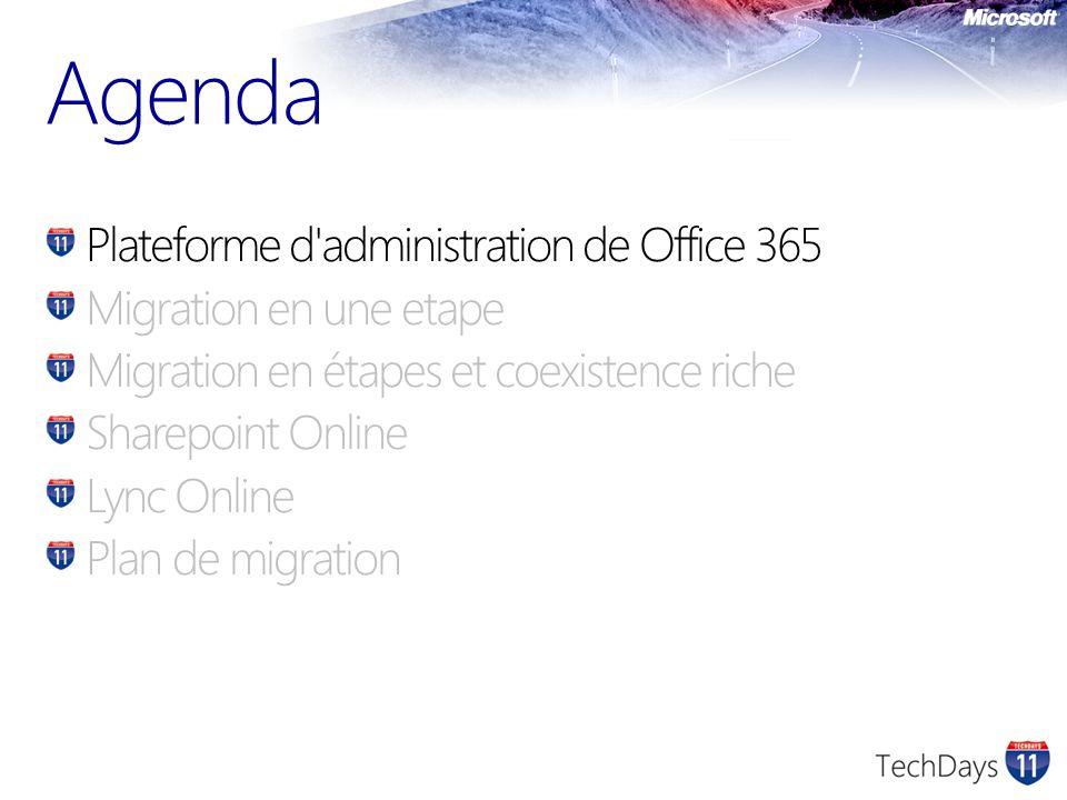 Plateforme d administration de Office 365 Migration en une etape Migration en étapes et coexistence riche Sharepoint Online Lync Online Plan de migration Agenda