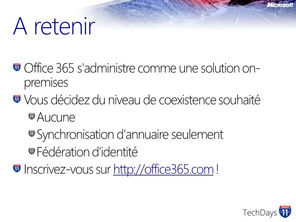 Office 365 s'administre comme une solution on- premises Vous décidez du niveau de coexistence souhaité Aucune Synchronisation d'annuaire seulement Féd
