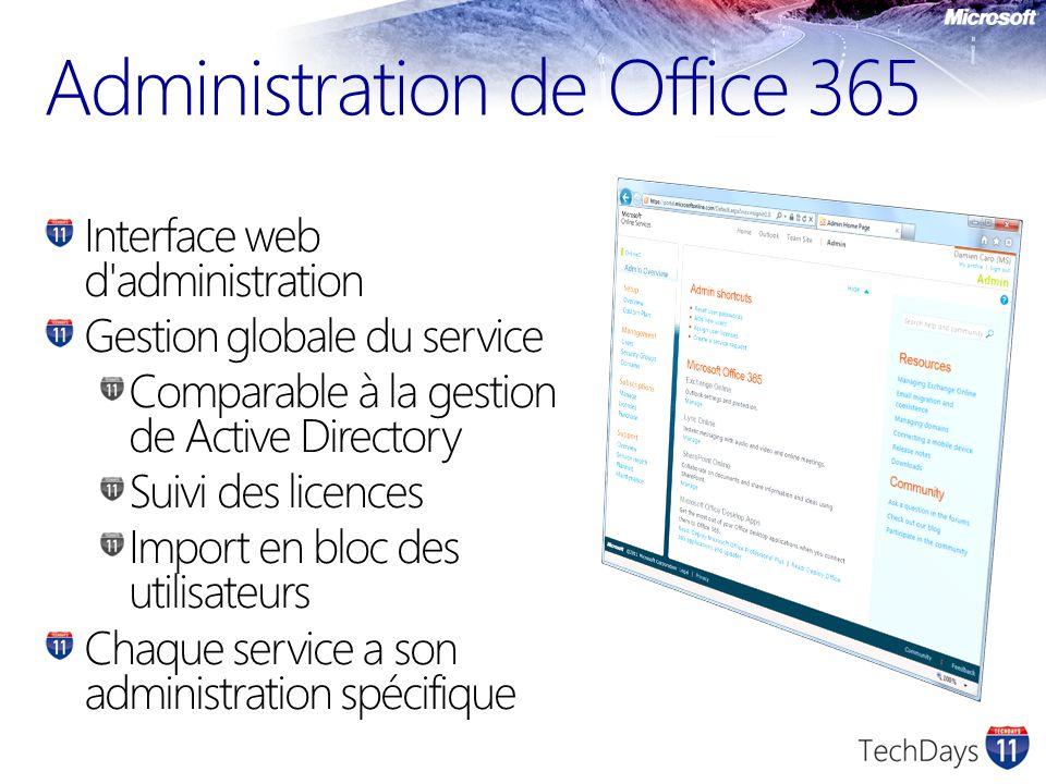 Administration de Office 365 Interface web d administration Gestion globale du service Comparable à la gestion de Active Directory Suivi des licences Import en bloc des utilisateurs Chaque service a son administration spécifique