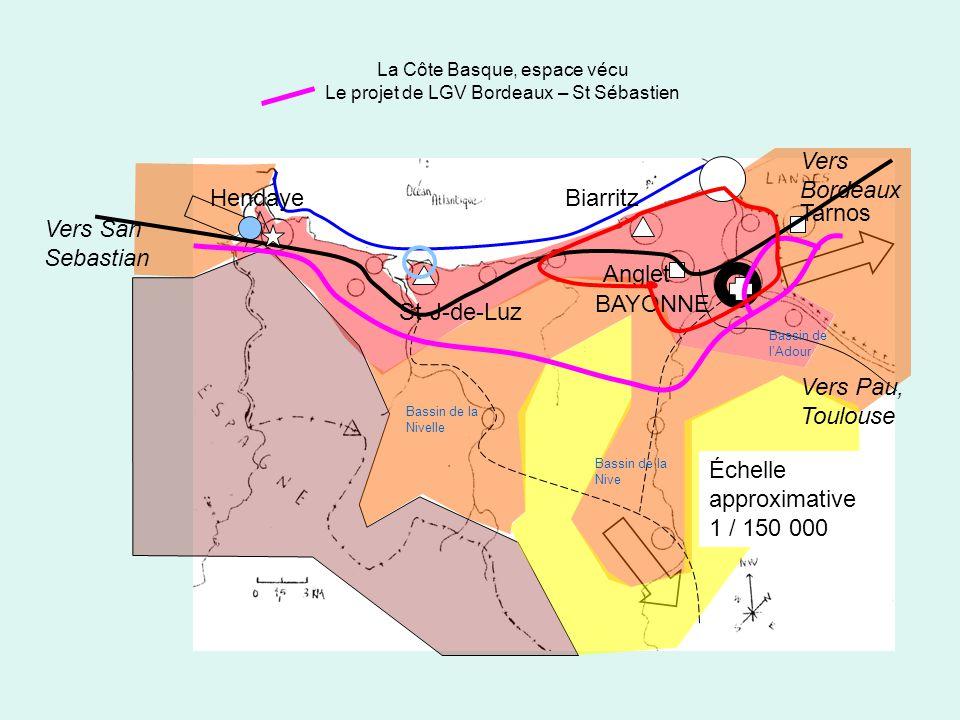 La Côte Basque, espace vécu Le projet de LGV Bordeaux – St Sébastien BAYONNE Biarritz Anglet St-J-de-Luz Hendaye Tarnos Vers San Sebastian Vers Bordea