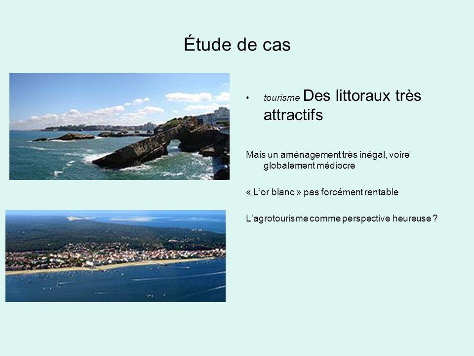 Étude de cas tourisme Des littoraux très attractifs Mais un aménagement très inégal, voire globalement médiocre « Lor blanc » pas forcément rentable L