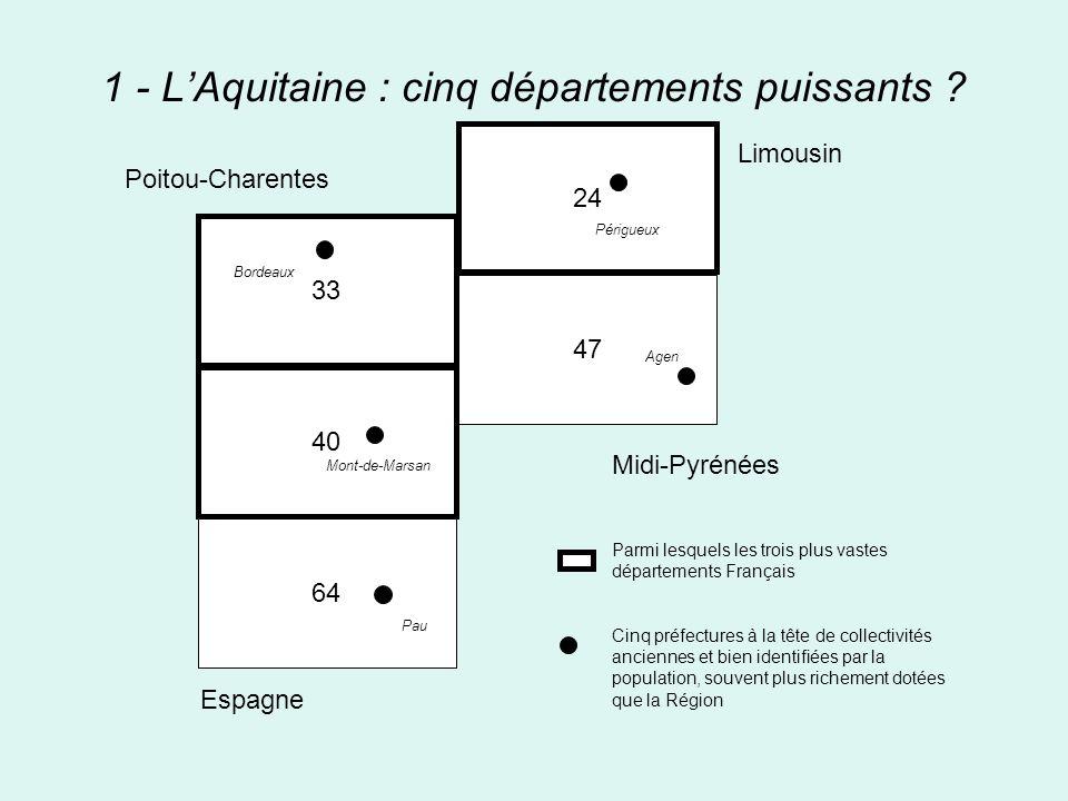 1 - LAquitaine : cinq départements puissants ? 33 40 64 24 47 Midi-Pyrénées Parmi lesquels les trois plus vastes départements Français Cinq préfecture