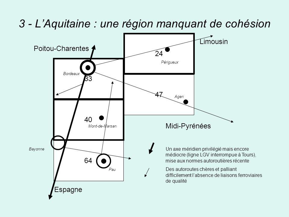 3 - LAquitaine : une région manquant de cohésion 33 40 64 24 47 Midi-Pyrénées Un axe méridien privilégié mais encore médiocre (ligne LGV interrompue à