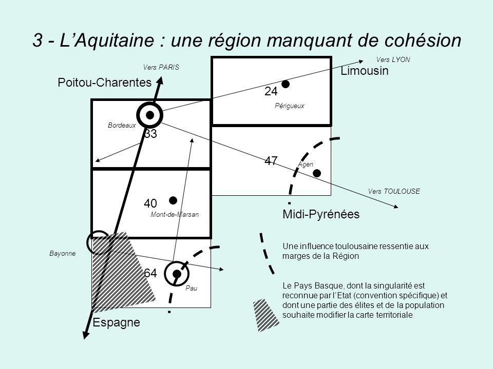 3 - LAquitaine : une région manquant de cohésion 33 40 64 24 47 Midi-Pyrénées Une influence toulousaine ressentie aux marges de la Région Le Pays Basq
