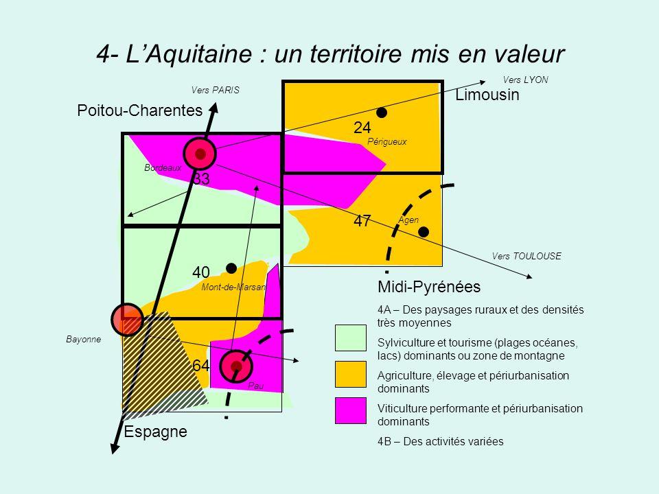 4- LAquitaine : un territoire mis en valeur 33 40 64 24 47 Midi-Pyrénées 4A – Des paysages ruraux et des densités très moyennes Sylviculture et touris