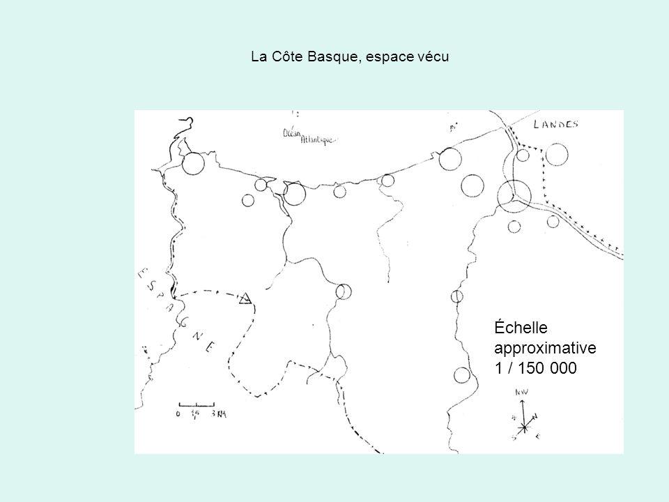 La Côte Basque, espace vécu 1 - Une portion du sud aquitain une côte généralement découpée mais pourvue de belles plages et de spots réputés, devenant sablonneuse vers le Nord Échelle approximative 1 / 150 000