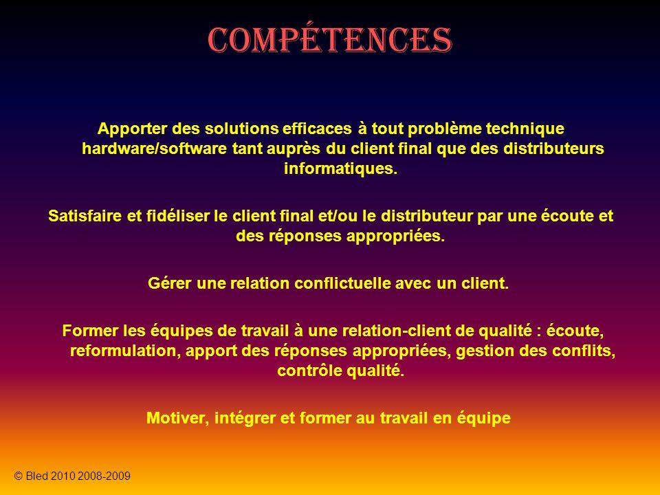 Compétences Apporter des solutions efficaces à tout problème technique hardware/software tant auprès du client final que des distributeurs informatiqu