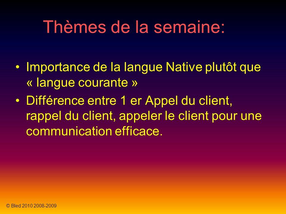 Thèmes de la semaine: Importance de la langue Native plutôt que « langue courante » Différence entre 1 er Appel du client, rappel du client, rappeler le client pour une communication efficace.