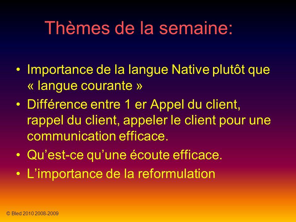 Thèmes de la semaine: Importance de la langue Native plutôt que « langue courante » Différence entre 1 er Appel du client, rappel du client, appeler l