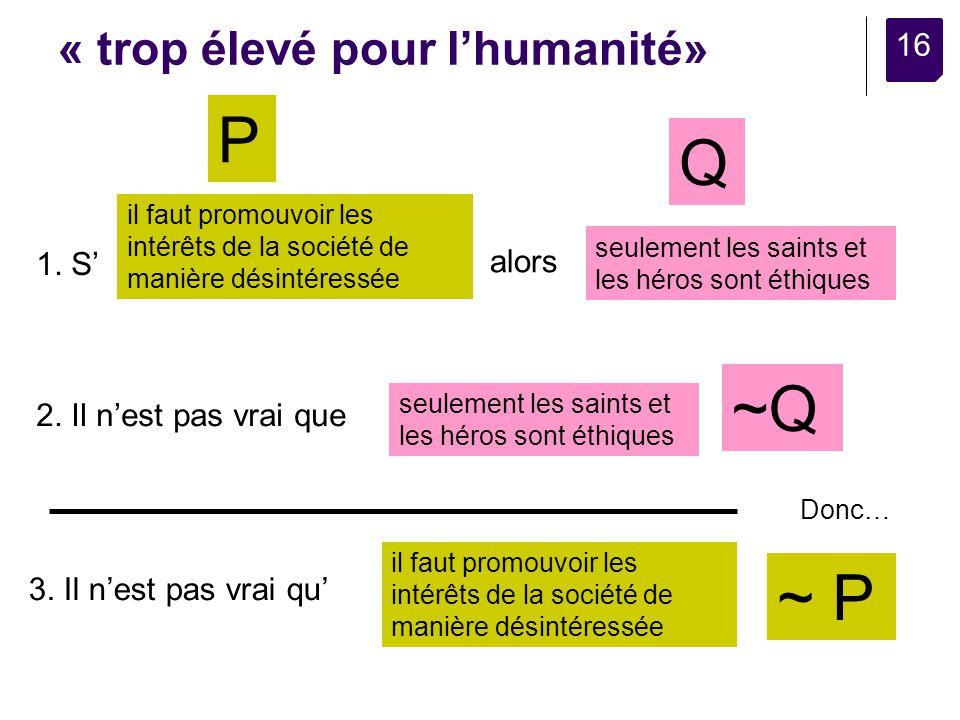 16 « trop élevé pour lhumanité» il faut promouvoir les intérêts de la société de manière désintéressée seulement les saints et les héros sont éthiques 1.